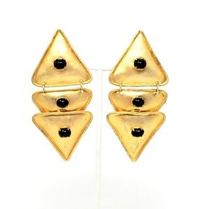 Brushed Gold Toned Tri-Triangle Black Cab Necklace